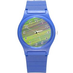 Diagonal Lines Abstract Round Plastic Sport Watch (s)