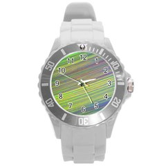 Diagonal Lines Abstract Round Plastic Sport Watch (l)
