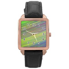 Diagonal Lines Abstract Rose Gold Leather Watch