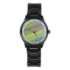 Diagonal Lines Abstract Stainless Steel Round Watch