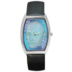 Digital Pattern Barrel Style Metal Watch