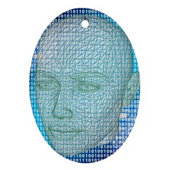 Digital Pattern Oval Ornament (two Sides)