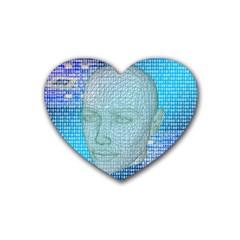 Digital Pattern Rubber Coaster (Heart)