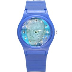 Digital Pattern Round Plastic Sport Watch (s)