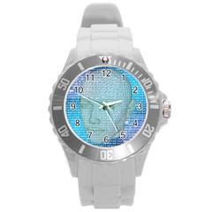 Digital Pattern Round Plastic Sport Watch (l)