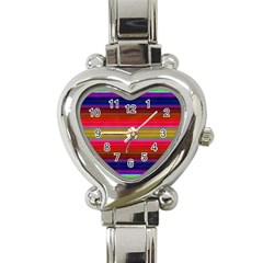 Fiesta Stripe Colorful Neon Background Heart Italian Charm Watch
