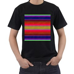 Fiesta Stripe Colorful Neon Background Men s T Shirt (black) (two Sided)