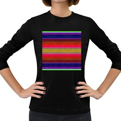 Fiesta Stripe Colorful Neon Background Women s Long Sleeve Dark T Shirts
