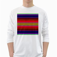 Fiesta Stripe Colorful Neon Background White Long Sleeve T Shirts