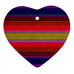 Fiesta Stripe Colorful Neon Background Heart Ornament (two Sides)