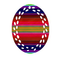 Fiesta Stripe Colorful Neon Background Ornament (oval Filigree)