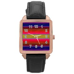 Fiesta Stripe Colorful Neon Background Rose Gold Leather Watch