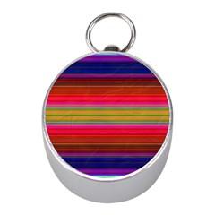 Fiesta Stripe Colorful Neon Background Mini Silver Compasses