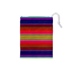 Fiesta Stripe Colorful Neon Background Drawstring Pouches (Small)