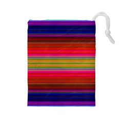 Fiesta Stripe Colorful Neon Background Drawstring Pouches (large)