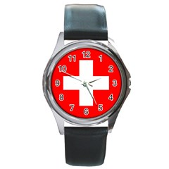 Flag Of Switzerland Round Metal Watch