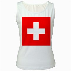 Flag Of Switzerland Women s White Tank Top
