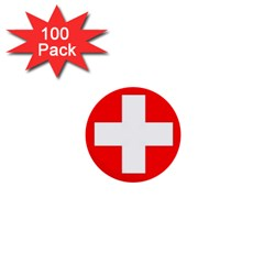 Flag Of Switzerland 1  Mini Buttons (100 Pack)