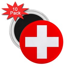 Flag Of Switzerland 2 25  Magnets (10 Pack)