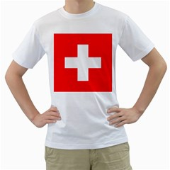 Flag Of Switzerland Men s T Shirt (white) (two Sided)