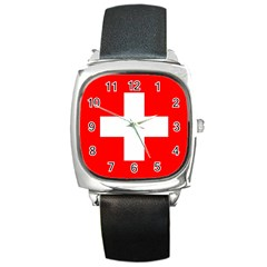 Flag Of Switzerland Square Metal Watch