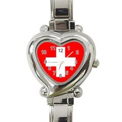 Flag Of Switzerland Heart Italian Charm Watch