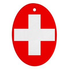Flag Of Switzerland Oval Ornament (two Sides)