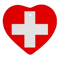 Flag Of Switzerland Heart Ornament (two Sides)