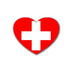 Flag Of Switzerland Rubber Coaster (Heart)