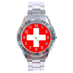Flag Of Switzerland Stainless Steel Analogue Watch