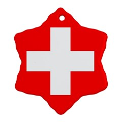 Flag Of Switzerland Snowflake Ornament (two Sides)