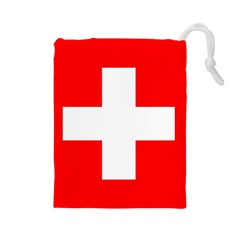Flag Of Switzerland Drawstring Pouches (large)
