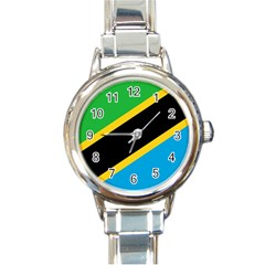 Flag Of Tanzania Round Italian Charm Watch