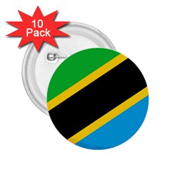 Flag Of Tanzania 2.25  Buttons (10 pack)
