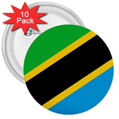 Flag Of Tanzania 3  Buttons (10 Pack)