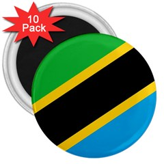 Flag Of Tanzania 3  Magnets (10 Pack)