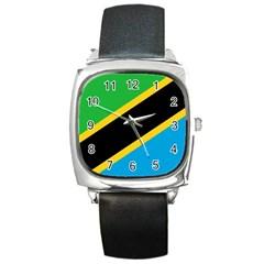 Flag Of Tanzania Square Metal Watch
