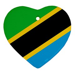Flag Of Tanzania Heart Ornament (two Sides)