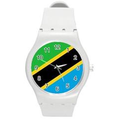 Flag Of Tanzania Round Plastic Sport Watch (m)