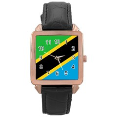Flag Of Tanzania Rose Gold Leather Watch