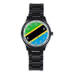 Flag Of Tanzania Stainless Steel Round Watch