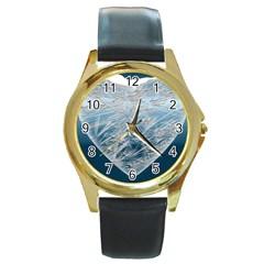 Frozen Heart Round Gold Metal Watch