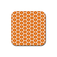 Golden Be Hive Pattern Rubber Coaster (square)