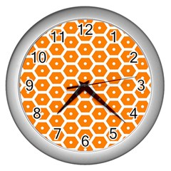 Golden Be Hive Pattern Wall Clocks (silver)