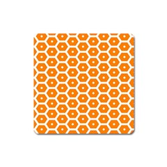 Golden Be Hive Pattern Square Magnet