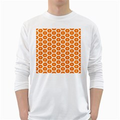 Golden Be Hive Pattern White Long Sleeve T Shirts