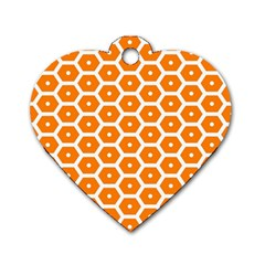 Golden Be Hive Pattern Dog Tag Heart (one Side)