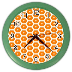 Golden Be Hive Pattern Color Wall Clocks