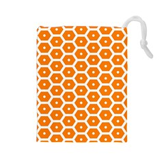 Golden Be Hive Pattern Drawstring Pouches (large)