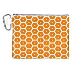 Golden Be Hive Pattern Canvas Cosmetic Bag (xxl)